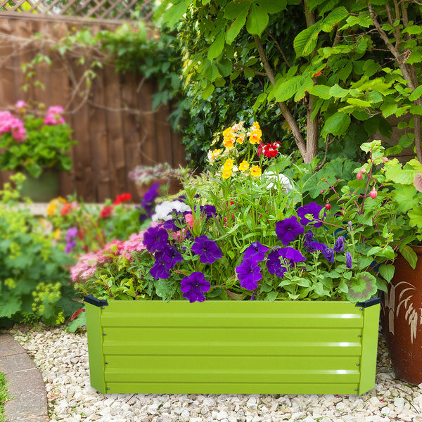 Metal Raised Garden Bed Planters Boxes Herb Garden Box for Vegetables Outdoor  39.7in L x 39.7in W x 12in H -Green