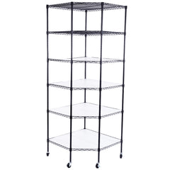 6-Layer Plastic Coated Polygonal Corner Shelf with 2in  PP Wheel, Black
