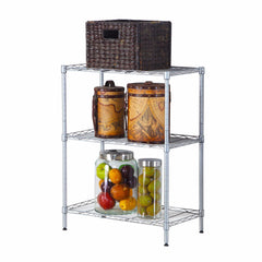 Concise 3 Layers Carbon Steel & PP Storage Rack Silver