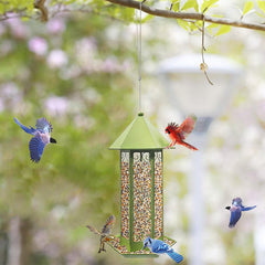 Hanging Metal Bird Feeder Green