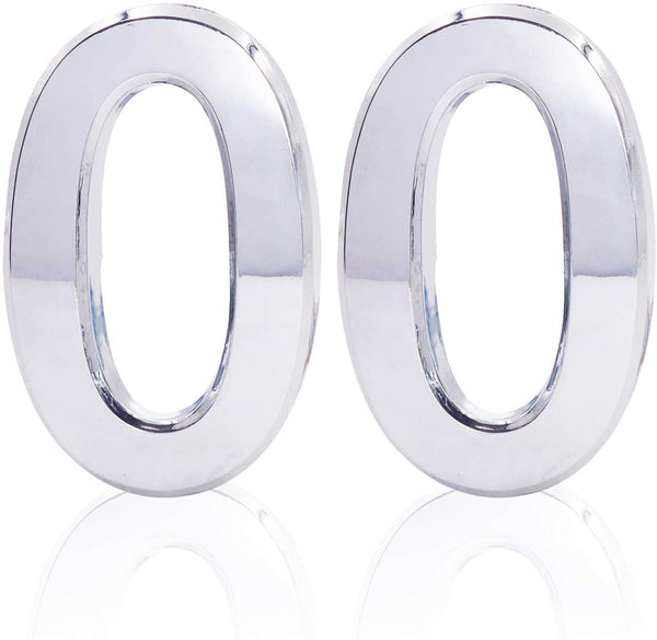 "2pack 3""Reflective Vinyl Numbers White 0"