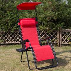 Outdoor Folding Zero Gravity Recliner Lounge Chair with Shade Canopy and Cup Holder(Red)