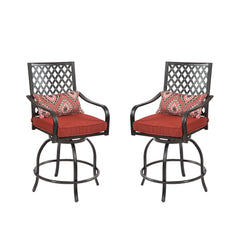 Outdoor Metal Swivel Height Chairs Patio Dining Chair with Cushion Set of 2