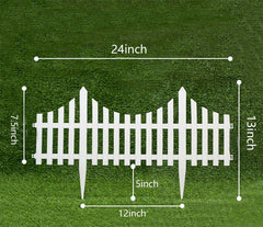 Picket Fence Decorative Garden Fence,24x13in,White