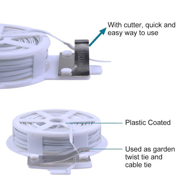 sturdy and recyclable plant twist tie with cutter
