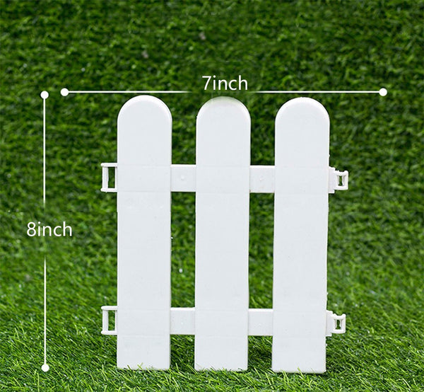 Plastic Decorative Garden Fencing,Round Head,White