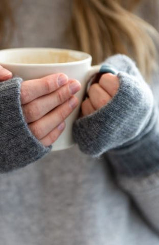 Pale Grey Cashmere Handwarmers