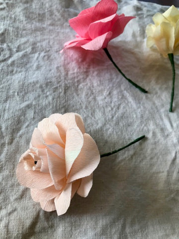 Pale Peach Crepe Paper Flower