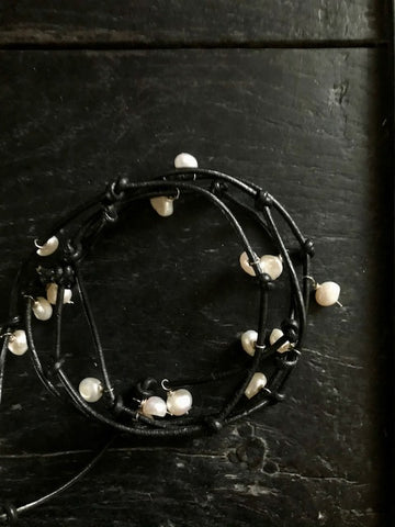 Pearl and Leather Wrap Necklace