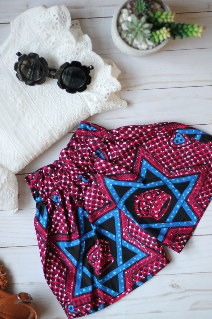 Stars and Hearts - Ankara Print Shorts