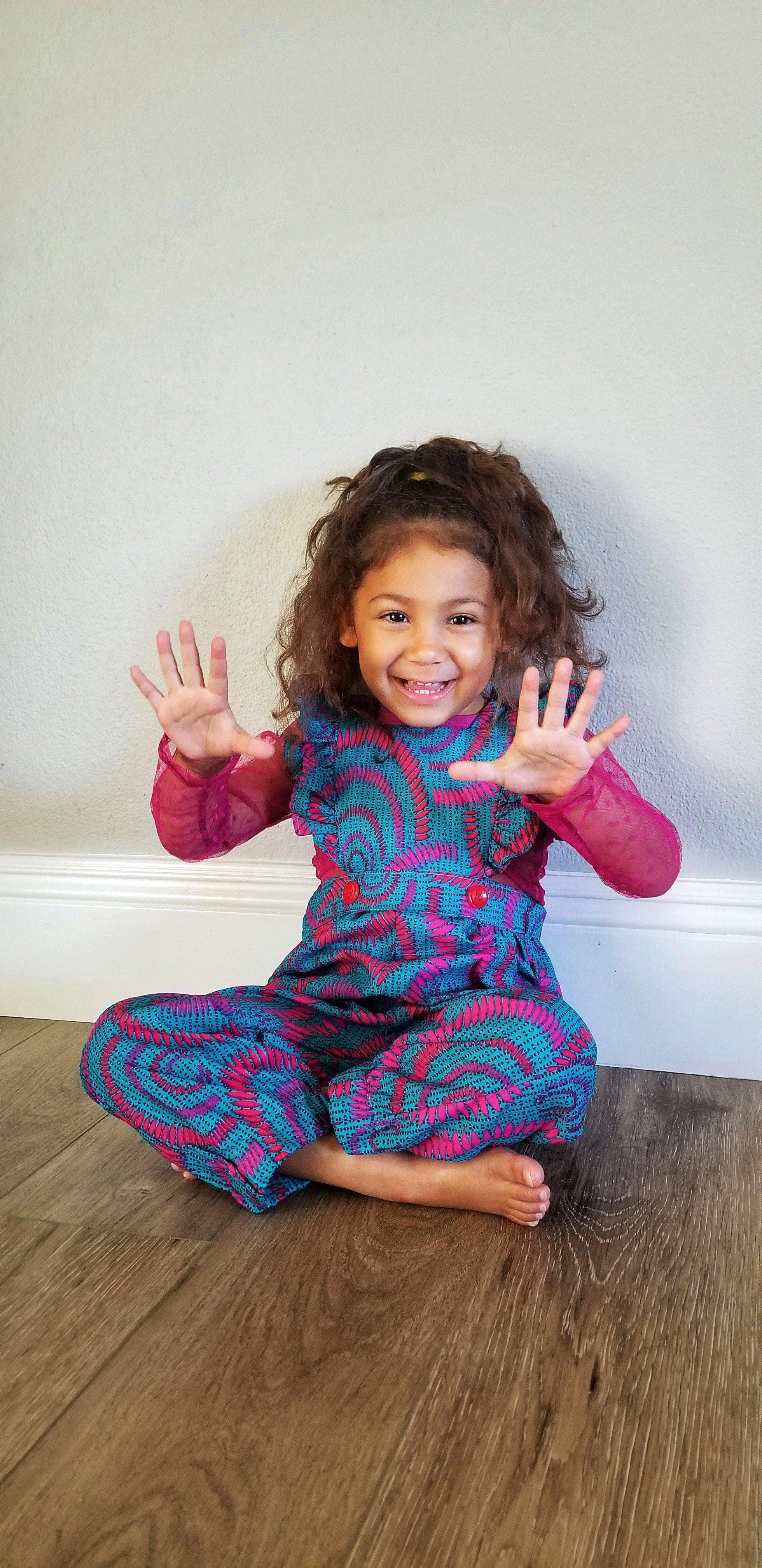 Preorder Ada Jumpsuit - Turquoise and Purple - Kid African Clothing-Elisamama