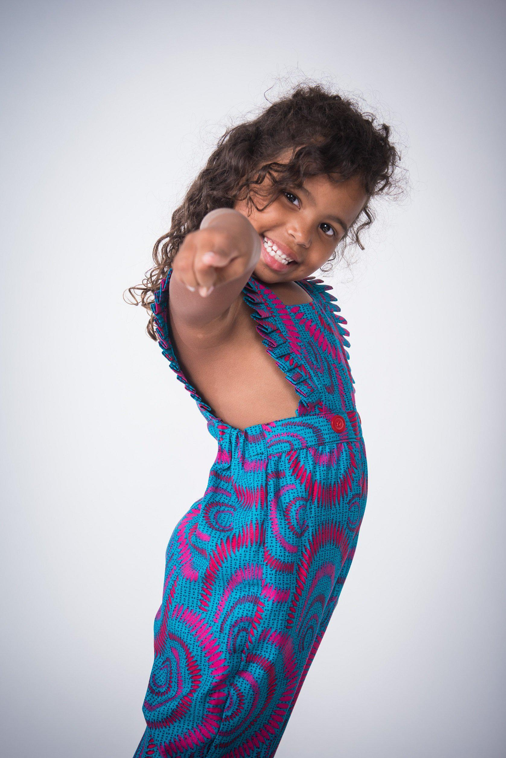 Ada Jumpsuit - Turquoise and Purple - Kid African Clothing-Elisamama