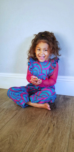 Girl in Ada African Print Girl Jumpsuit