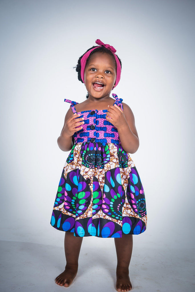 Bows and Things - Tami Girl Dress - Ankara Wax Print-Elisamama