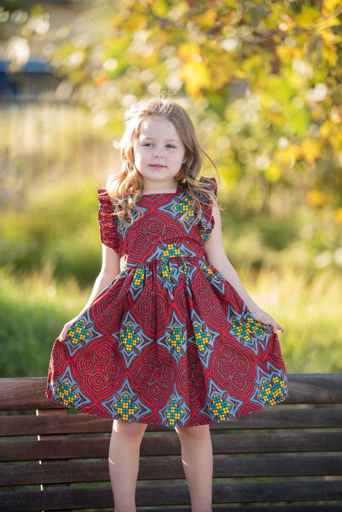 Elisa Dress - Red Stained Glass Print-Elisamama