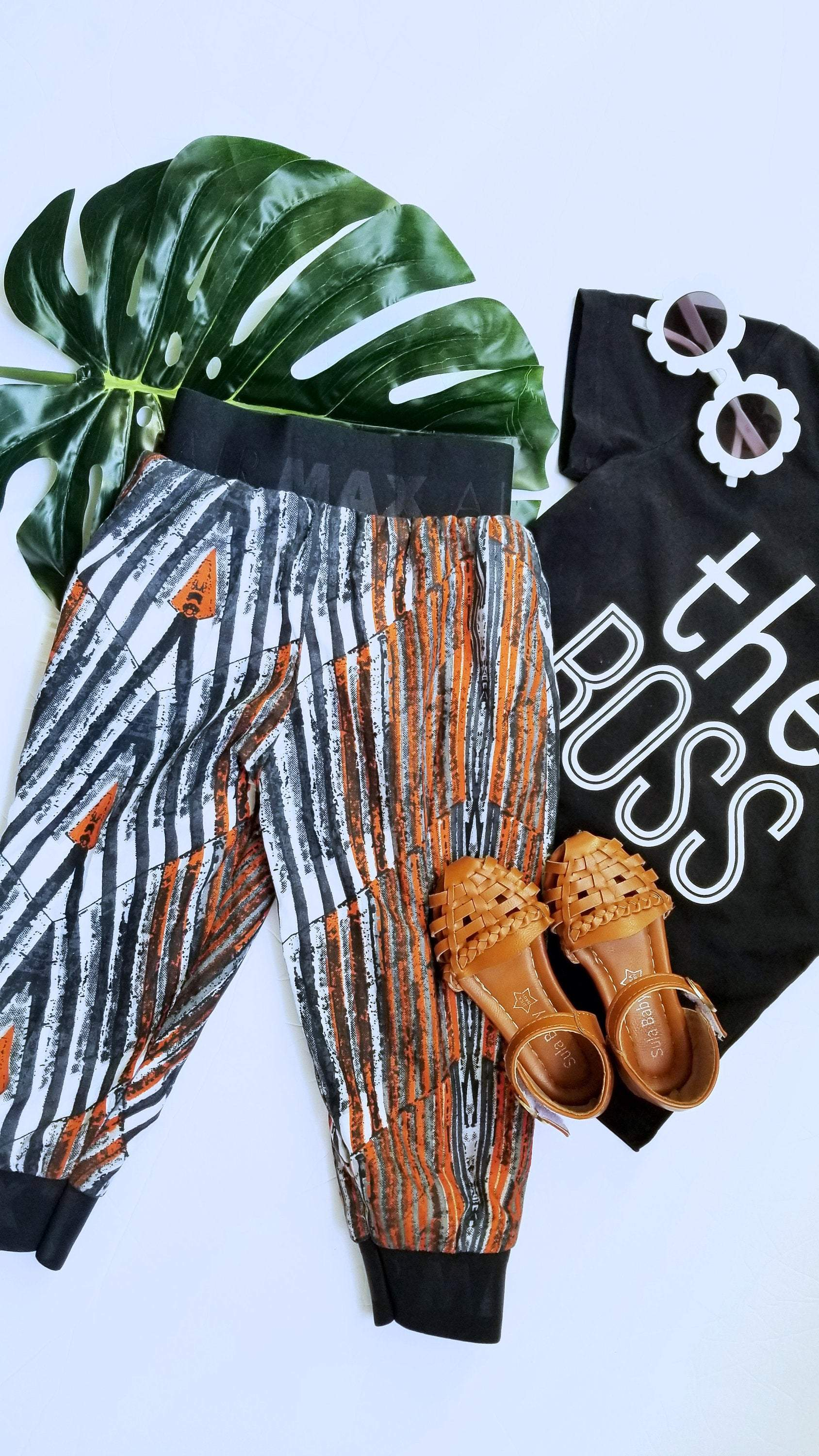 Harem pants - Black and Orange Geometric Print-Elisamama