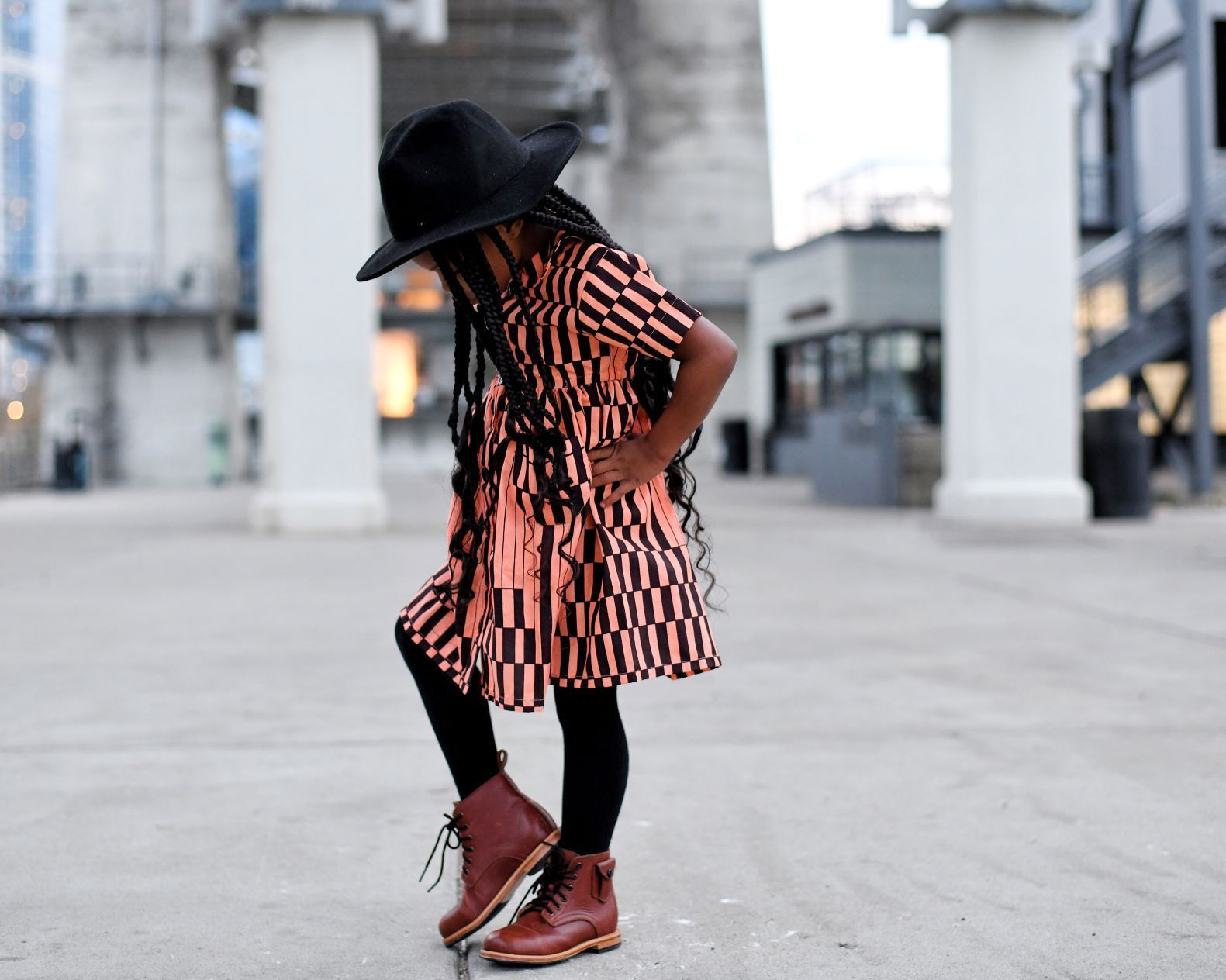 Kemi Dress - Salmon, Black Geometric Pattern-Elisamama