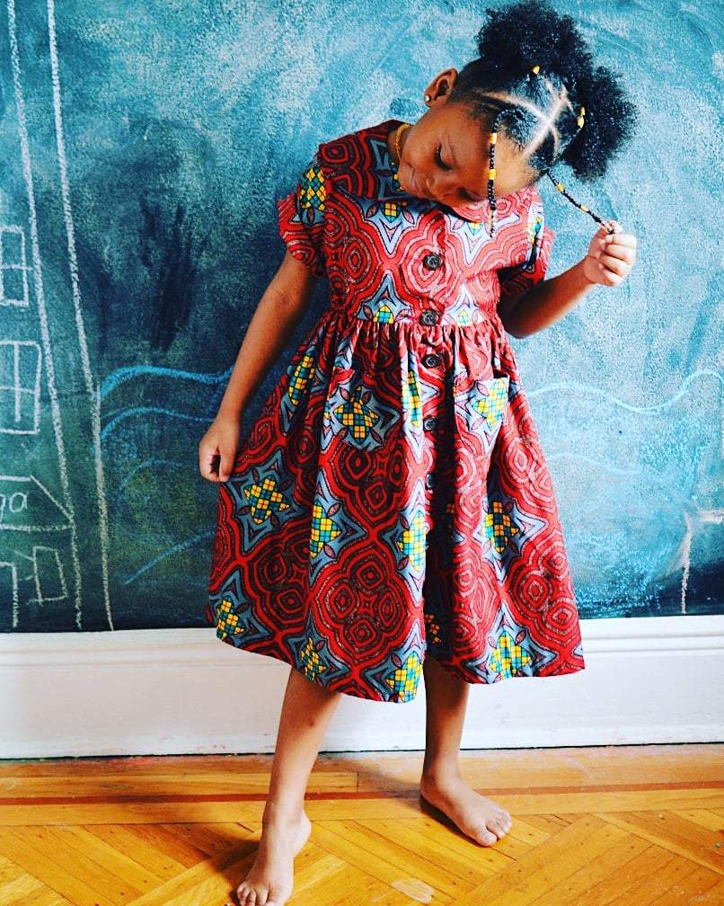 Kemi Girl Dress - Red Stained Glass Print - ethnic ankara print-Elisamama