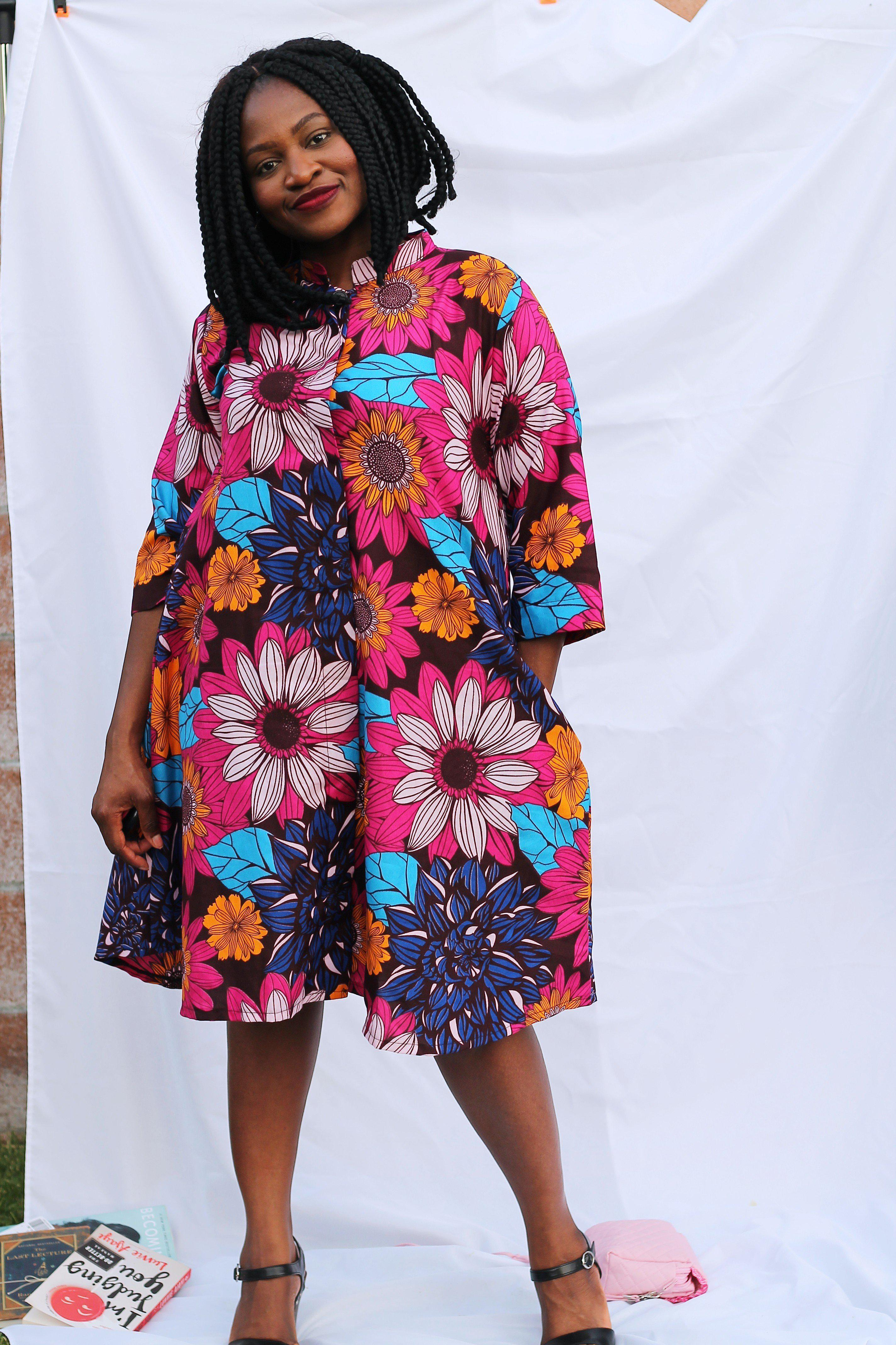 Mama of the Flower Burst - Jacket Dress - ankara wax print-Elisamama