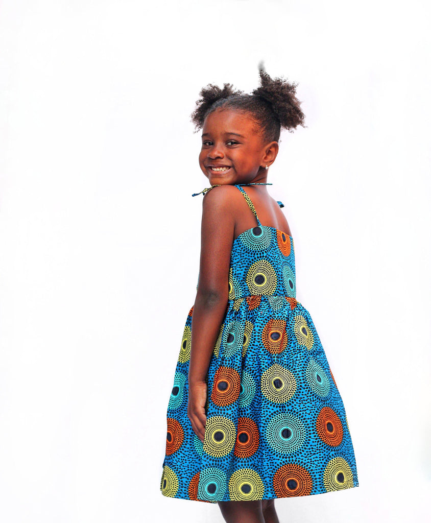 Mini of the Disc Galore Tami Dress - Ankara Wax Print-Elisamama