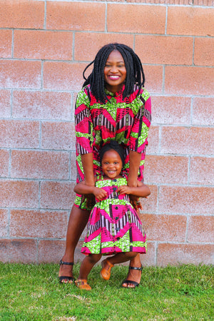 Mini of the Pink and Green Fusion Tami Dress-Elisamama