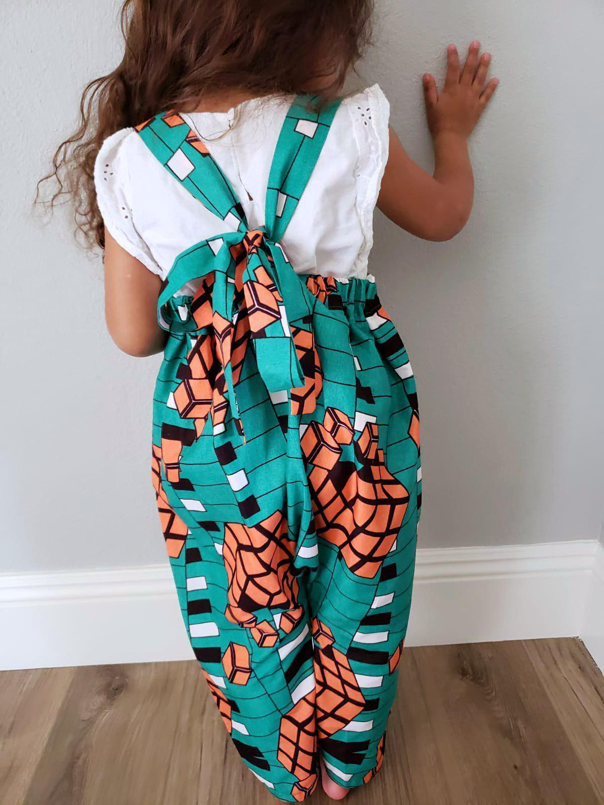 Sola Jumpsuit - Green and Orange Cubes - African Wear for Kids-Elisamama