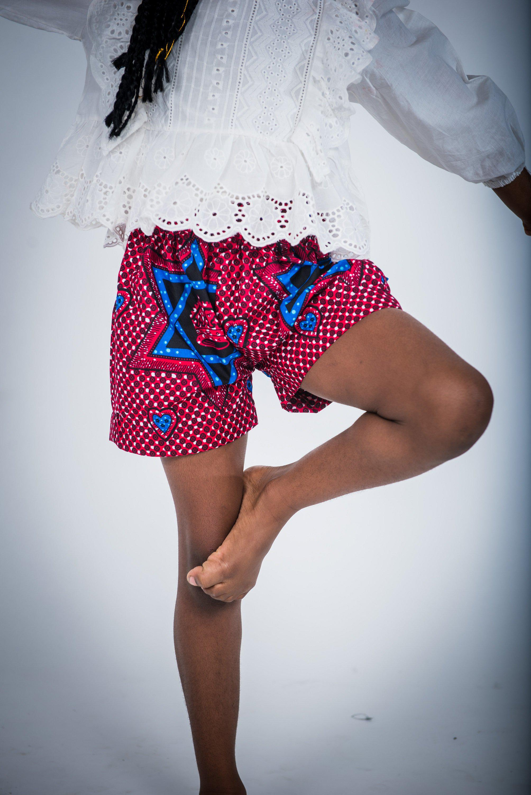 Stars and Hearts - Shorts - Ankara Wax Prints-Elisamama