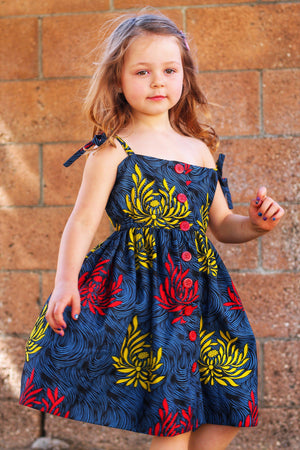 Tami Girl Dress - Blue, Red, Yellow Print-Elisamama