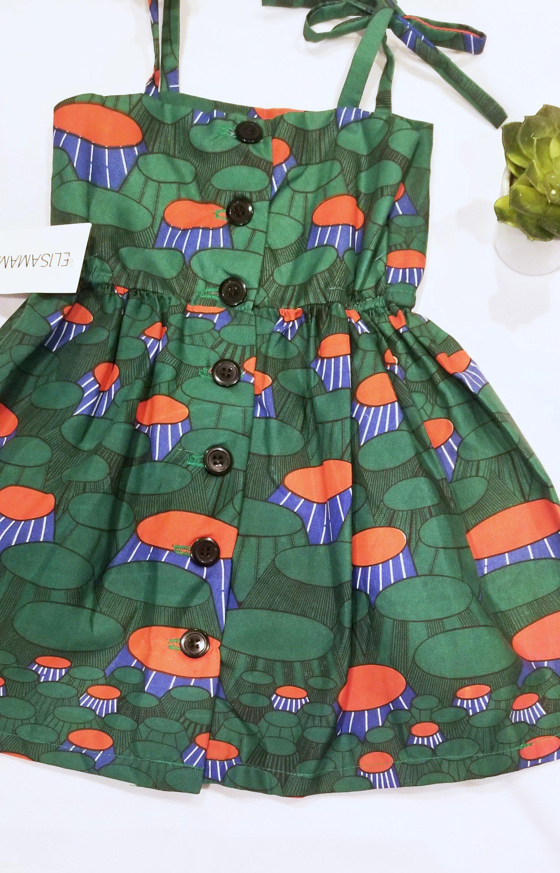 Tami Girl Dress - Green Orange Dome Print-Elisamama