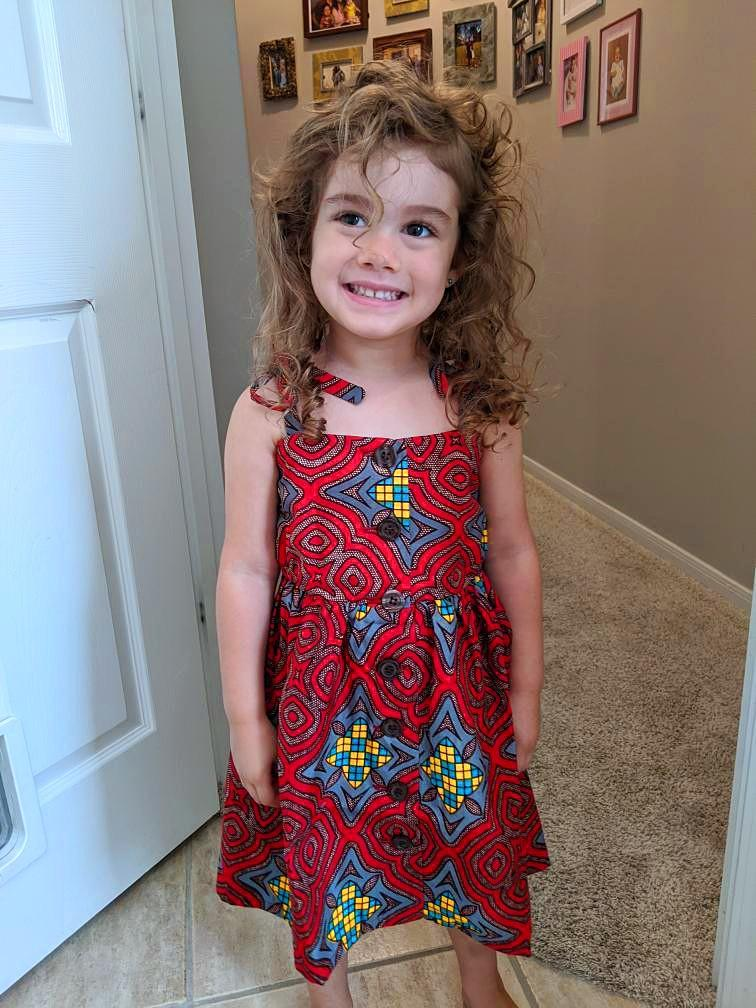 Tami Girl Dress - Red Stained Glass Print-Elisamama
