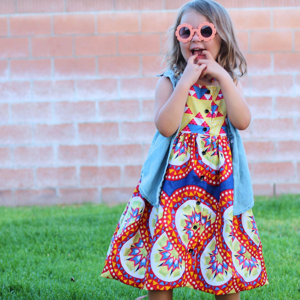 Tami Dress - Yellow, Red, Blue Eclectic Print-Elisamama