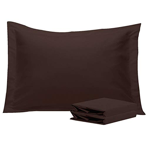 NTBAY Standard Pillow Shams, Set of 2, 100% Brushed Microfiber, Soft and Cozy, Wrinkle, Fade, Stain Resistant (Standard, Dark Grey)
