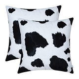 CaliTime Pack of 2 Cozy Fleece Throw Pillow Cases Covers for Couch Bed Sofa Farmhouse Animal Skin Pattern Printed Both Sides 20 X 20 Inches Cow