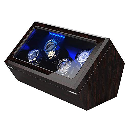 High End Watch Winder for Rolex with Soft Flexible Watch Pillows, Blue Led Light, Open and Shut Down Featured, Pine Bark Pattern, Extra Over Size Watch Pillows Included