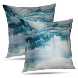 WAYATO Abstract 18 x 18 Decorative Pillow Covers, Grey and Blue Abstract Art Acrylic Contemporary Double-Sided Pattern Square Turquoise Pillow Covers Sofa Cushion Covers for Living Room