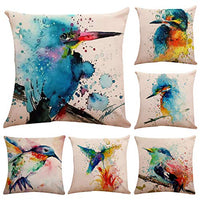 Polyester Throw Pillow Case,Vivid Birds Print Pattern Cushion Cover Home Sofa Decorative18 X 18 Inch/4545cm(Cover Only,No Insert)(4 Pack Vivid Birds)