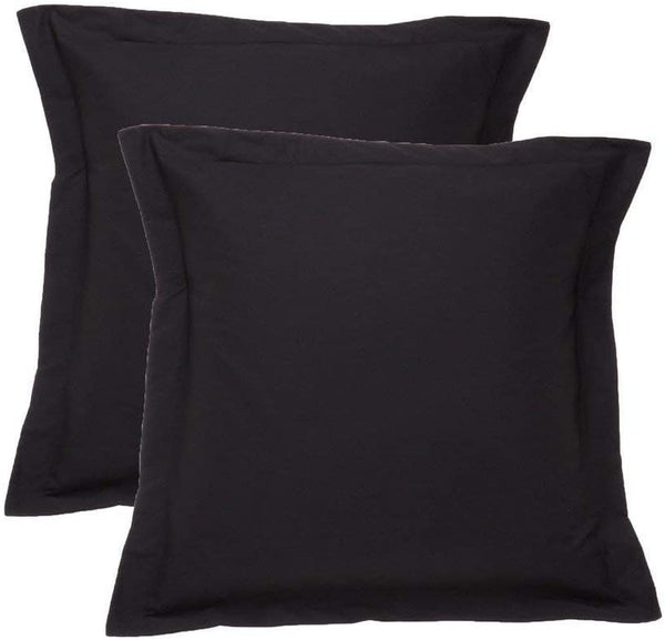 European Square Pillow Shams Set of 2 Black Solid 700 Thread Count 100% Natural Cotton pack of Two Euro 26 x 26 Pillow shams Cushion Cover, Cases Super Soft Decorative (Black, European 26''x 26'')