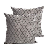 MOTINI Embroidery Pattern Pillow Covers Gray Velvet, Set of 2 Embroidered Decorative Throw Pillows Luxury Traditional Pillowcase for Bed Couch 22x22 inch