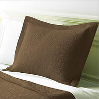WINLIFE 100% Cotton Quilted Pillow Sham Floral Printed Pillow Cover Khaki
