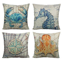 All Smiles Nautical Sea Turtle Throw Pillow Covers Cases Outdoor Decorative Summer Square Couch 18X18 Set of 4 for Home Décor Bed Sofa
