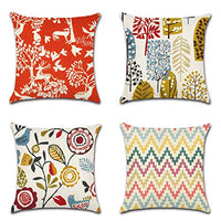 "WITHYOU Decorative Cotton Linen Modern Simple Abstract Pattern Throw Pillow Case Cushion Cover 18"" x 18"" Set of 4 Cube"