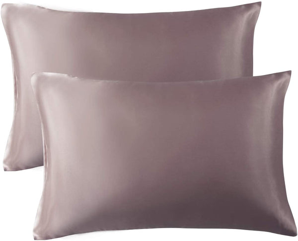 Bedsure Satin Pillowcase for Hair and Skin, 2-Pack - Queen Size (20x30 inches) Pillow Cases - Satin Pillow Covers with Envelope Closure, Rose Taupe