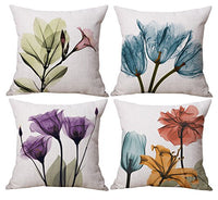 Geepro 18 x 18 inch Painting Flower Throw Pillow Cover Set Decorative Floral Cushion Covers Set of 4 (Purple)