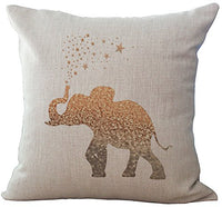 ChezMax Linen Blend Elephant Pattern Cushion Cover Cotton Pillowslip Square Decorative Throw Pillow Case 18 X 18''