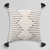 Sungea Woven Tassels Throw Pillow Cover, 12x20 Inch, Moroccan Cotton Beige with Black Geometric Pattern Couch Case Square Decorative Pillowcase