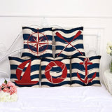 "Miracle Dec Summer Nautical Compass Pattern Linen Polyester Square Sofa Throw Pillow Covers (18""x18"", Red&Navy)"