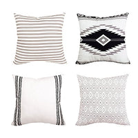 "BLEUM CADE Pillow Cover Cushion Cover Modern Decorative Throw Pillow Case for Sofa Couch Bed and Car Set Home Decor 4 Packs (Simple Strings, 20""x 20"")"