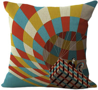 ChezMax Hot-air Balloon Pattern Cushion Cover Cotton Linen Pillowslip Square Decorative Throw Pillow Case 18 X 18''