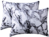 iAsteria Brushed Microfiber Pillowcase Set of 2, Super Soft and Cozy, Wrinkle, Fade, Stain Resistant, Marble Pattern Decorative Pillow Cases, Covers with Envelope Closure - King Size, White and Black