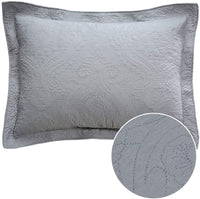 Brandream Quilted Pillow Shams Standard Size Cotton Set of 2 Gray Damask Decorative Pillow Covers Farmhouse Bedding